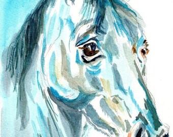 Blue Watercolour Horse, Horse Watercolour painting, Horse watercolour Print, Horse Lover's gift, Horse Home Decor, Horse's head painting