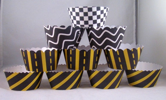 1 Dozen Race Themed Cupcake Wrappers in 3 different Cut Designs