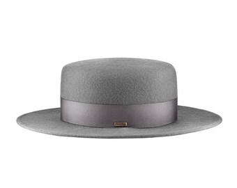Canotier wide brim gray hat