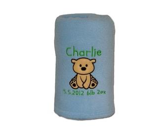Personalised Baby Blanket Teddy Bear Design (142) - - Baby Boy - Baby Girl - New Baby -  Christening Gift.