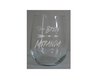 Personalized 15 oz  Stemless White Wine Glasses - Team Bride - Great for Bachelorette Parties and More!