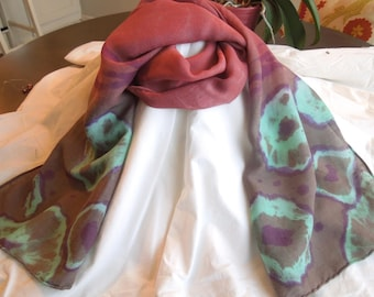 Hand Dyed Silk And Wool Arashi Shibori Scarf Blue Brown Russet- Abstract Cells