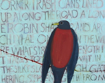 Archetypal, Original Robin Painting with Text