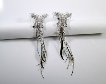 Butterfly Silver Rhinestone Dangle Plugs - Available in 4g, 2g and 0g