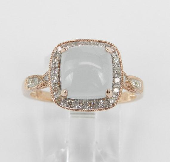 Rose Gold Cushion Cut Aquamarine and Diamond Halo Engagement Ring Square Cabochon March Birthstone