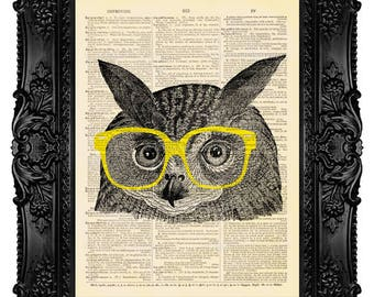 Home Decor Wall Hanging Owl Art Print on Dictionary Paper Page, Hipster Owl, Nerd Glasses Artwork 351