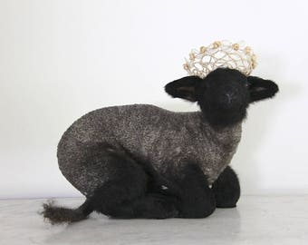 SALE Cute Vintage Taxidermy Lamb, Jeanne D'arc Living, Nordic Decor, Black Sheep