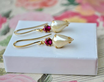 Pink & Cream Earrings, Pearlized Bead Earrings, Elegant Jewelry Vintage Style Drop Earrings, Dainty Teardrop Earrings, Small Gifts for Women