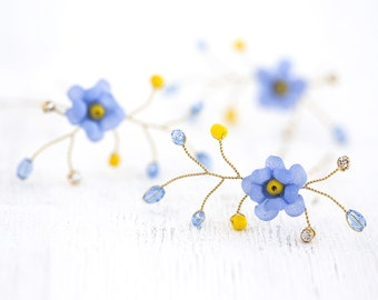 841 Gold hair pins, Blue flower pins, Bridal hair flowers, Forget-me-not hair accessories, Floral pins, Hair pins flowers, Hair flowers silk