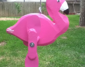 Flamingo Whirligig, Yard Art