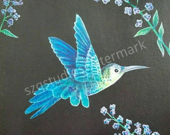 Archival 8 x 10 signed print of airbrush ink hummingbird