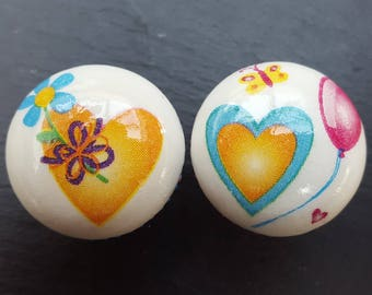 Hand Decorated Fun Hearts Balloons Flowers and Butterflies Design Drawer Knob Pull