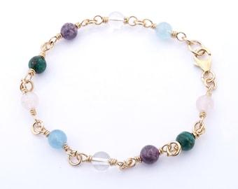 Gold Serenity Prayer Bracelet Link Style Crystal Healing Bracelet for Serenity, Acceptance, Change, Courage, Wisdom