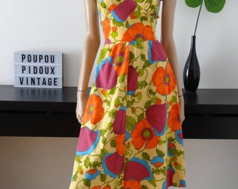 Vintage size 34 - uk 70's floral dress with 6 - us 2
