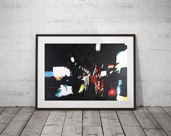 "Urban Lights at Night, Original Oil Painting on Canvas, 40x60cm (15,7""x23,6"")"