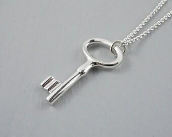 Key Necklace, Key Pendant, Sterling Silver Key Necklace, Silver Key Pendant, Handcrafted Sterling Silver Key Necklace, Silver Key, Key