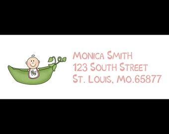30 Return Address Labels - Baby Shower - Pink Sweet Pea