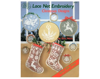 Lace Net Embroidery Christmas Design Booklet, Vintage Cross Stitch, Christmas Pattern Books, Net Embroidery, by NewYorkTreasures on Etsy