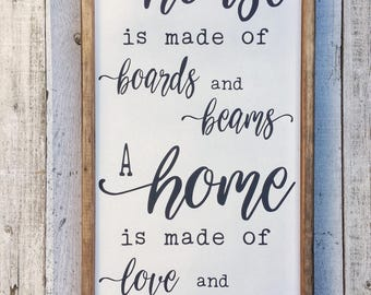 A House is Made of Boards and Beams, A Home is Made of Love and Dreams