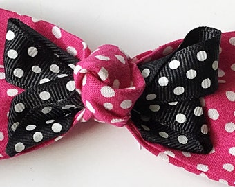 Pink and Black Polka Dot Bow Tie for Girl Dog or Cat Collar