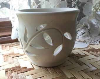 Satin White Porcelain Carved Candle Holder