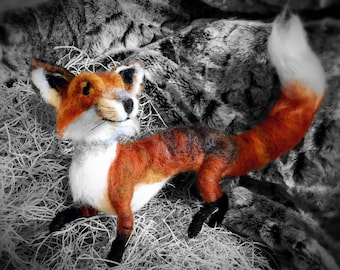 Red Fox - Needle Felted - Custom - Poseable - Wildlife - Woodland - Charming Handmade Felt Animal