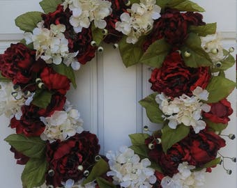 Red and Cream Peony and Hydrangea Wreath, Summer, Fall, Winter Wreath, Front Door Decor, Full Wreath