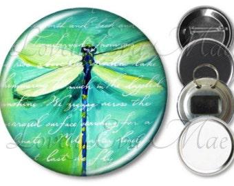 Blue Green Dragonfly Pocket Mirror, Magnet, Bottle Opener Key Ring, Pin Back Button