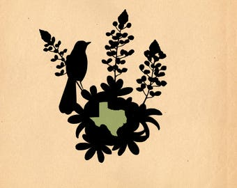 Texas State Bird and Flower - Print of Original Papercut