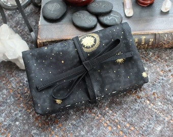 SMALL Lenormand Tarot Oracle Playing Cards Deck Wrap Around Bag - Black and Gold Shimmer Stars Moon Crescent Moons