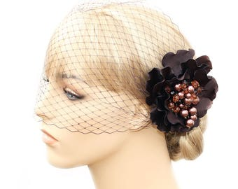 Brown Birdcage Veil And Flower_ Special Occasion Hair Clip_ Set Bridal Hair Clip Bandeau Style Veil Blusher_ Wedding Headpiece