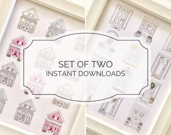 INSTANT DOWNLOAD / Dozen Mini Houses & Dozen Mini Doors Printable 8x10 / Nursery Decor / Printable Art / Wall Art / Boy and Girl Nursery