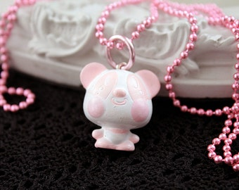 Kawaii panda long Necklace Gothic Lolita pink  chain clover