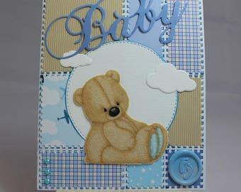 Handmade baby boy, kids, Teddy bear, clouds, fabric card