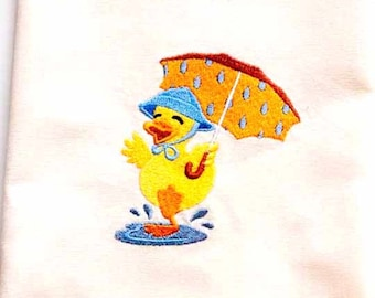 Duck With Umbrella Tea Towel | Personalized Kitchen Towel | Embroidered Kitchen Towel | Embroidered Towel | Bathroom Towel | Duck Towel