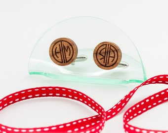 Personalised Monogram Cufflinks cherry wood. Great Gatsby style Solid Wooden Custom cufflinks for grooms or gift for men