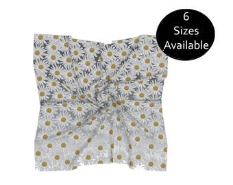 Floral Daisy Scarf, Lightweight Chiffon, Large or Small Square, Womens Head Scarf, Womens Fashion Accessory, Floral Spring, Gift for Her