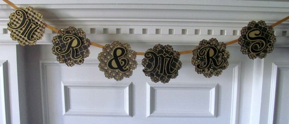 Mr. and Mrs banner, gold and black wedding banner