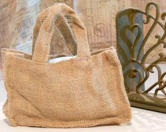 10 Burlap Wedding Favor Bags with Handles