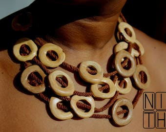 Handmade Wooden Circles Necklace.