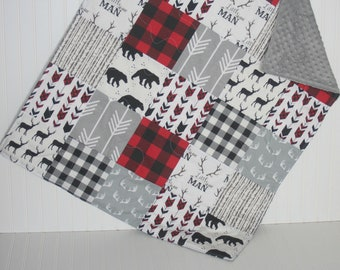 boy baby quilt- red and black baby quilt- bear baby quilt- baby boy bedding-minky baby quilt- arrow baby quilt- plaid baby quilt- woodland
