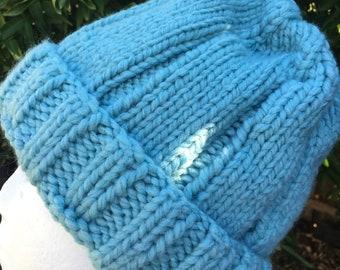 Knitted blue beanie, blue knit beanie, ladies blue beanie, blue tiffany beanie, blue beanie, blue chunky beanie, knit hat blue mens,knit cap