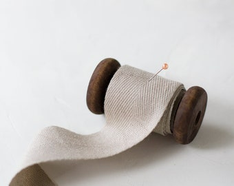 "Natural Taupe Cotton Twill Ribbon (with Wooden Spool) - 5 yards - 1.5"" wide"