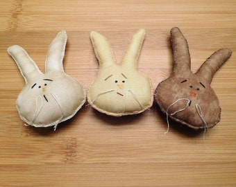 Primitive Easter Bunny Faces Ornaments Brown Tan and Gold Bowl Fillers Spring Decor