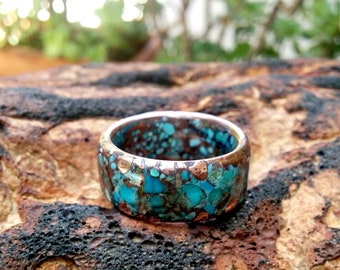 12mm Mixed Turquoise Copper Ring.  3.5-4mm Thickness.