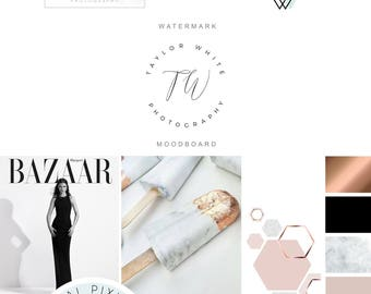 Branding Package - Marble and Copper Minimalist Logo Design - Modern Photography Logo Watermark - Fashion Blog Boutique Premade Branding Kit