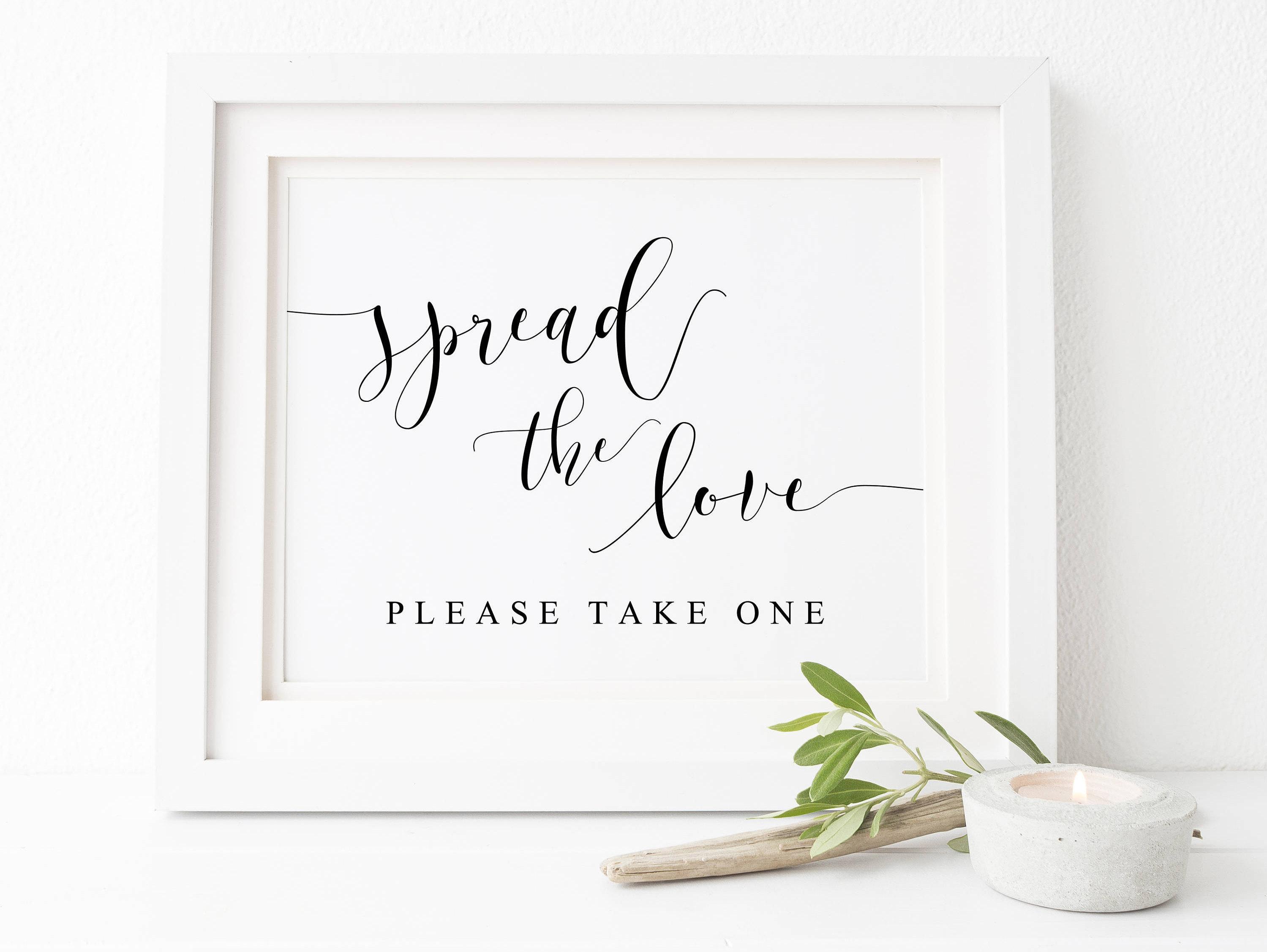 Spread The Love Wedding Sign-Wedding Favor Sign Favor