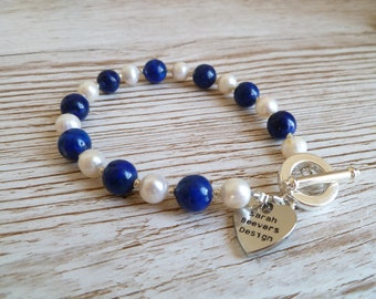 Lapis and fresh water pearl Bracelet UK made