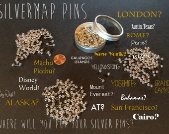 Silver Map Push Pins | Map Push Pins for your favorite locations! | SILVERMap Pins | SILVER Map Tacks  silver map  pins