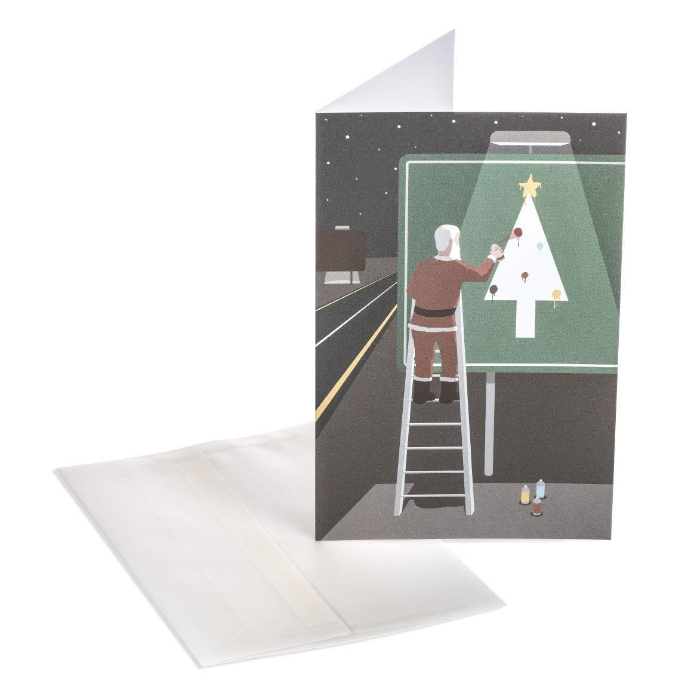 santa s highway funny christmas card whimsical santa note card